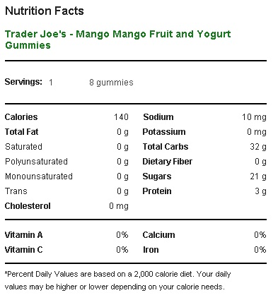 Trader Joe's Mango Mango Fruit and Yogurt Gummies - Nutritional Facts