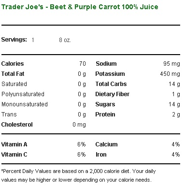 Trader Joe's Beet and Purple Carrot Juice - Nutritional Information