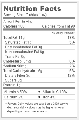 Trader Joe's Ridge Cut Sweet Potato Chips - Nutritional Facts