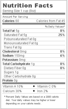 Trader Joe's Unflavored Organic Coconut Milk Beverage - Nutritional Information