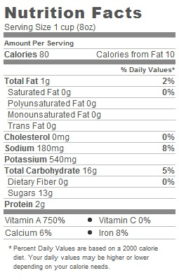 Trader Joes Organic Carrot Juice - Nutritional Information