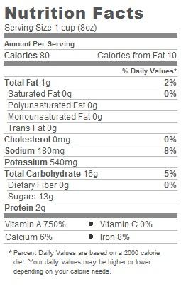 Trader Joes Organic Carrot Juice - Nutritional Information