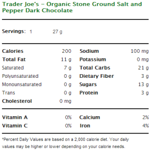 Trader Joe's Organic Stone Ground Salt and Pepper Dark Chocolate Nutritional Information