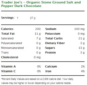 Trader Joe's Organic Stone Ground Salt and Pepper Dark Chocolate Nutritional Information