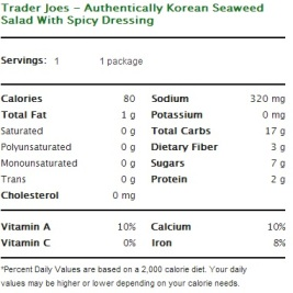 Trader Joe's Authentically Korean Seaweed Salad with Spicy Dressing - Nutrional Facts