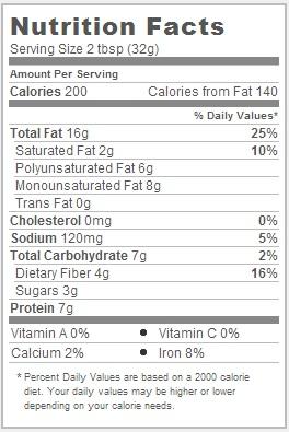Trader Joe's Sunflower Seed Butter Nutrional Information
