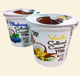 Trader Joe's Cultured Coconut Milk (in Blueberry and Vanilla)