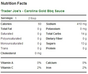 Trader Joe's Carolina Gold Barbecue Sauce - Nutrition Facts