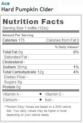 ACE Hard Pumpkin Cider - Nutrition Facts
