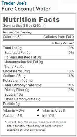 Trader Joe's Pure Coconut Water - Nutrition Facts