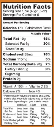 Trader Joe's Mini Pumpkin Pies - Nutrtion Facts