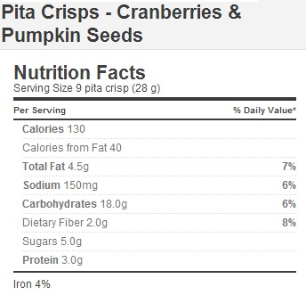 Trader Joe's Pita Crisps with Cranberries and Pumpkin Seeds - Nutrition Facts