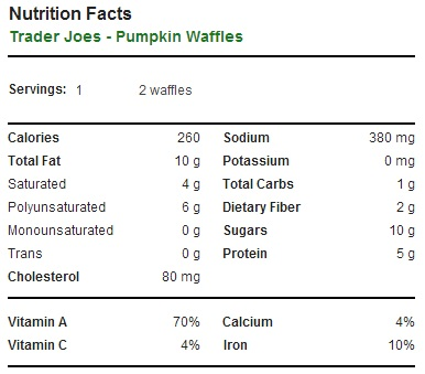 Trader Joe's Pumpkin Waffles - Nutrition Facts