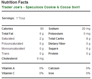 Trader Joe's Speculoos Cookie and Cocoa Swirl - Nutrition Facts