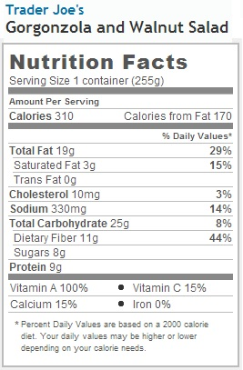 Trader Joe's Walnut and Gorgonzola Salad - Nutrtition Facts