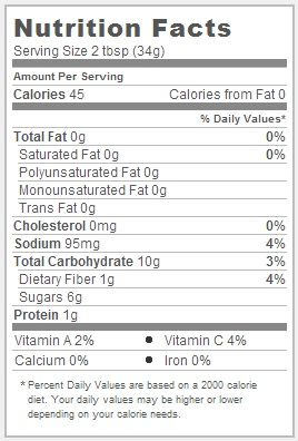 Trader Joe's Corn and Chile Salsa - Nutrition Facts