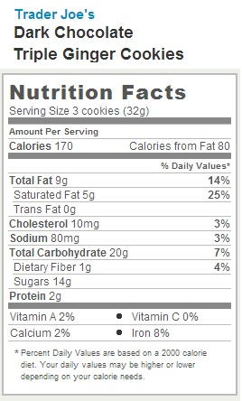 Trader Joe's Dark Choclate Triple Ginger Cookies - Nutrition Facts