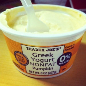 Trader Joe's Non-fat pumpkin greek yogurt