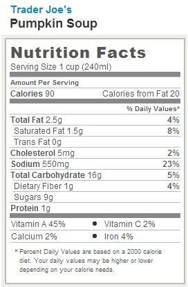 Trader Joe's Pumpkin Soup - Nutrition Facts