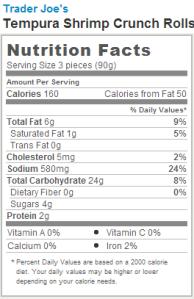 Trader Joe's Tempura Shrimp Crunch Rolls - Nutrition Facts