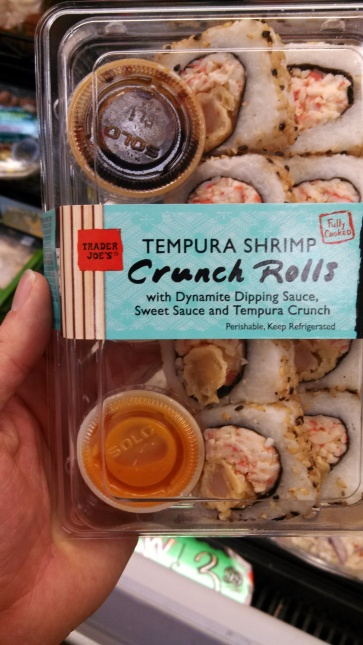 "Notice how the word ""sushi"" is carefully avoided. ""Sushi, what's that? You mean shrimp crunch rolls?"""