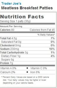 Trader Joe's Meatless Breakfast Patties - Nutrition Facts