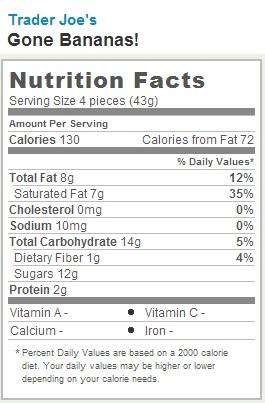 Trader Joe's Gone Bananas - nutrition facts