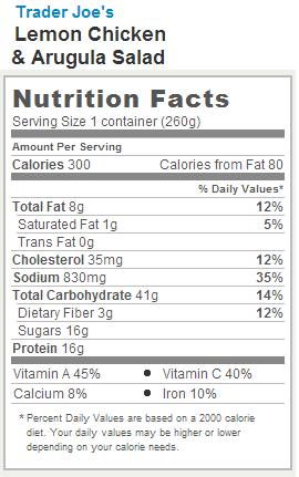 Trader Joe's Lemon Chicken and Arugula Salad - Nutrition Facts