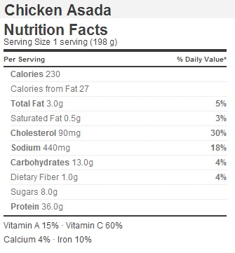 Trader Joe's Chicken Asada - Nutrition Facts