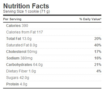 Trader Joe's Inside Out Carrot Cake Cookies - Nutrition Facts