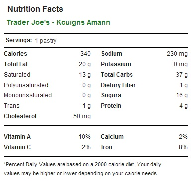 Trader Joe's Kouign Amann - Nutrition Facts