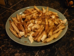 Trader Joe's Poutine cooked on a plate