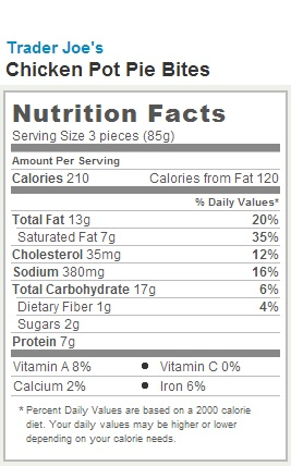 Trader Joe's Chicken Pot Pie Bites - Calories