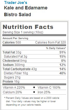 Trader Joe's Kale and Edamame Bistro Salad - Nutrtion Facts