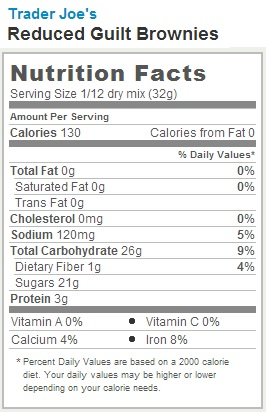 Trader Joe's Reduced Guilt No Fat Brownies - Nutrition Facts