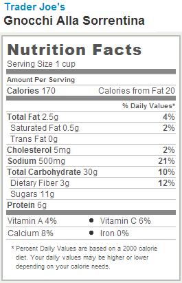 Trader Joe's Gnocchi Alla Sorrentina - Nutrition Facts