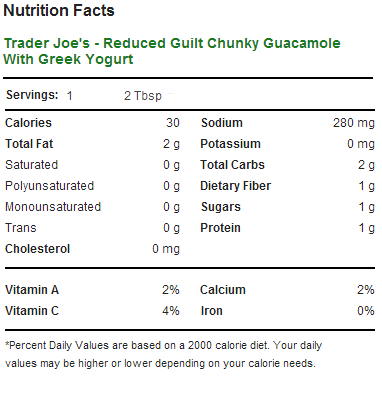 Trader Joe's Reduced Guilt Guacamole - Nutrition Facts