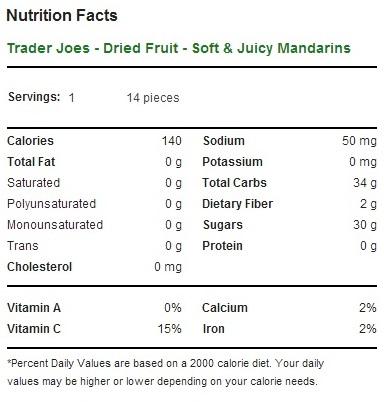 Trader Joe's Soft and Juicy Mandarin Slices - Calories