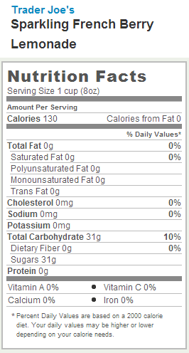 Trader Joe's Sparkling French Berry Lemonade - Nutrition Facts