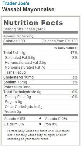 Trader Joe's Wasabi Mayonnaise - Nutrition Facts