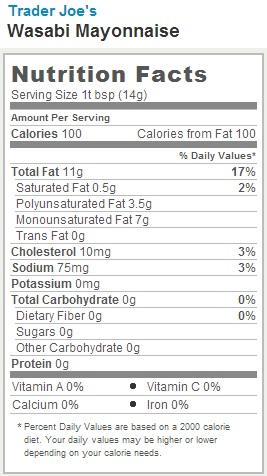 Trader Joe's Wasabi Mayonnaise - Nutrition Facts