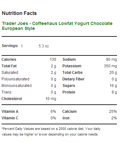 Trader Joe's Coffeehaus European Style Lowfat Yogurt - Chocolate