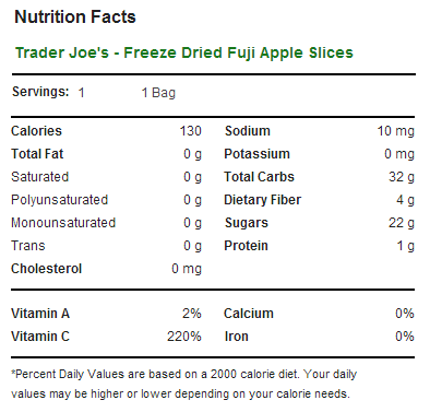 Trader Joe's Freeze Dried Fuji Apple Slices - Nutrition Facts