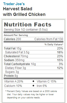 Trader Joe's Harvest Salad with Grilled Chicken - nutrition facts