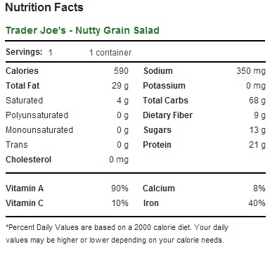 Trader Joe's Nutty Grain Salad - Nutrition Facts