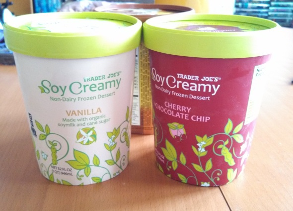 Trader Joe's Organic Soy Creamy Non-Dairy Frozen Desert - cherry chocolate chip and vanilla