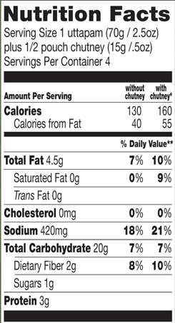 Trader Joe's Four Uttapam with Coconut Chutney - Nutritional Facts