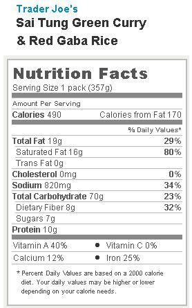 Trader Joe's Sai Tung Green Curry and Red Gaba Rice - Nutrition Facts