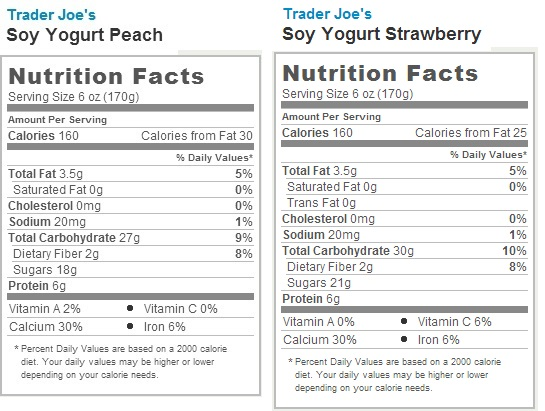 Trader Joe's Soy Yogurt - Nutrition Facts