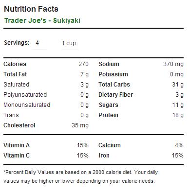 Trader Joe's Sukiyaki - Nutrition Facts